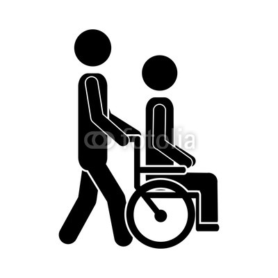 400x400 Man Transporting Disabled Person Sitting In The Wheelchair Icon