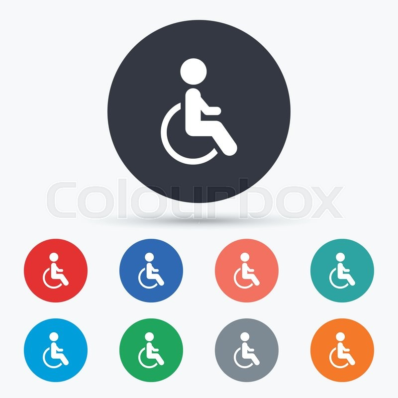 800x800 Disabled Sign Icon. Human On Wheelchair Symbol. Flat Disabled Icon