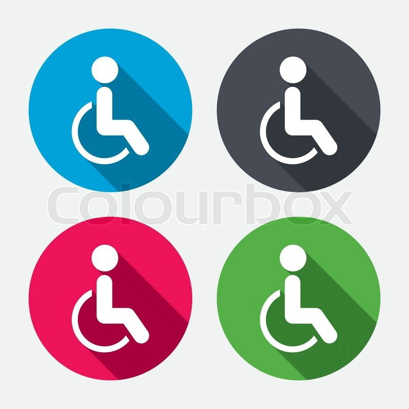 800x800 Disabled Sign Icon. Human On Wheelchair Symbol. Handicapped