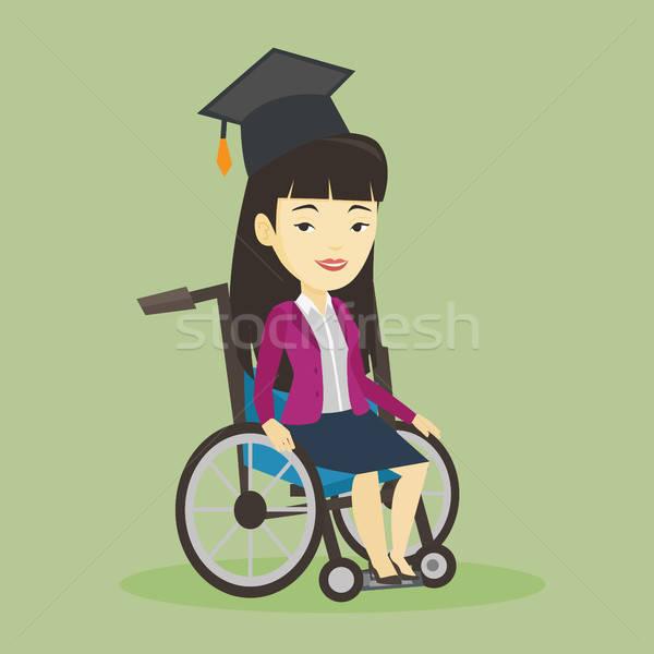 600x600 Graduate Sitting In Wheelchair Vector Illustration Vector