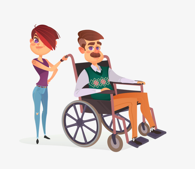 650x564 Grandpa In A Wheelchair, Vector Diagram, Character, Disabled