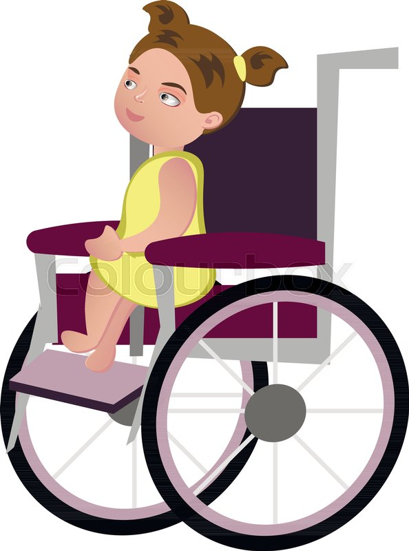 594x800 Little Blondy Girl On A Wheelchair. Vector Illustration Stock