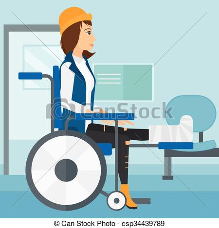 450x470 Patient Sitting In Wheelchair. A Woman With Broken Leg Sitting In