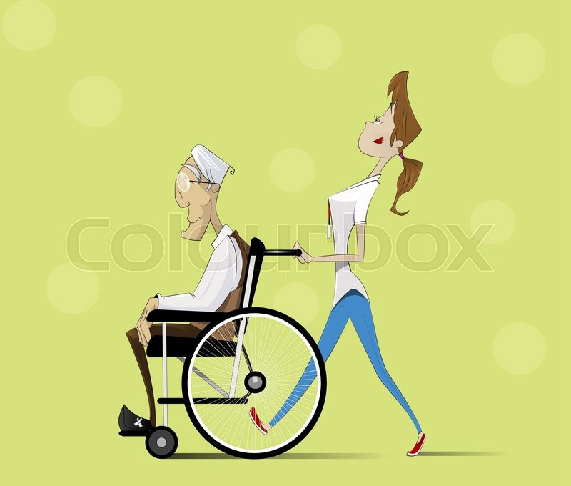 800x680 Social Worker Strolling With Elder Man In Wheelchair. Vector Flat