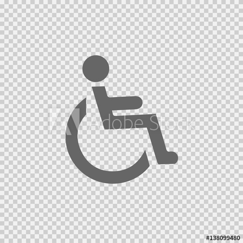 500x500 Wheelchair Vector Icon Eps 10. Disabled Handicapped Isolated