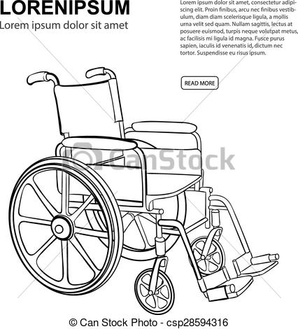 426x470 Wheelchair. Vector Hand Drawn Illustration Isolate On White