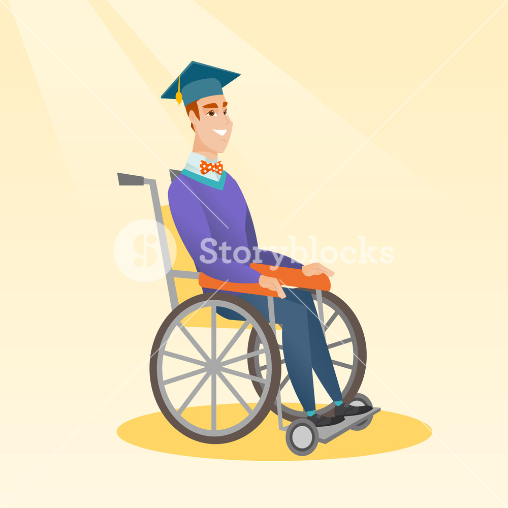 1000x1000 Young Caucasian Student Sitting In Wheelchair. Cheerful Graduate