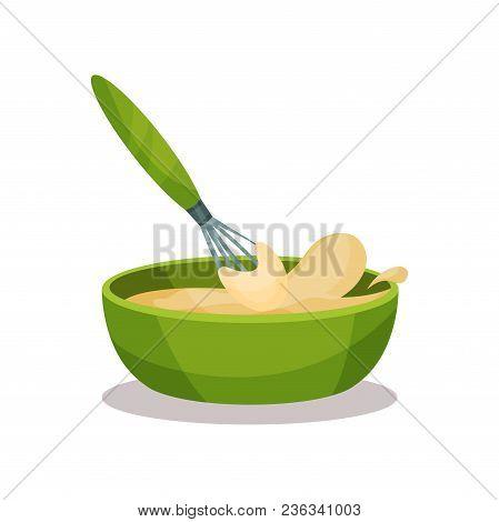 449x470 Green Ceramic Bowl Full Of Freshly Prepared Dough And Whisk Vector