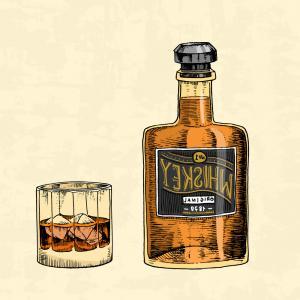 300x300 Hand Draw Of Whiskey Bottle Vector Sohadacouri