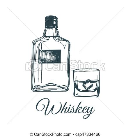 450x470 Hand Sketched Whiskey Bottle And Glass. Vector Illustration Of