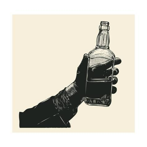 473x473 Male Hand Holding Bottle Of Whiskey. Hand Drawn Design Element