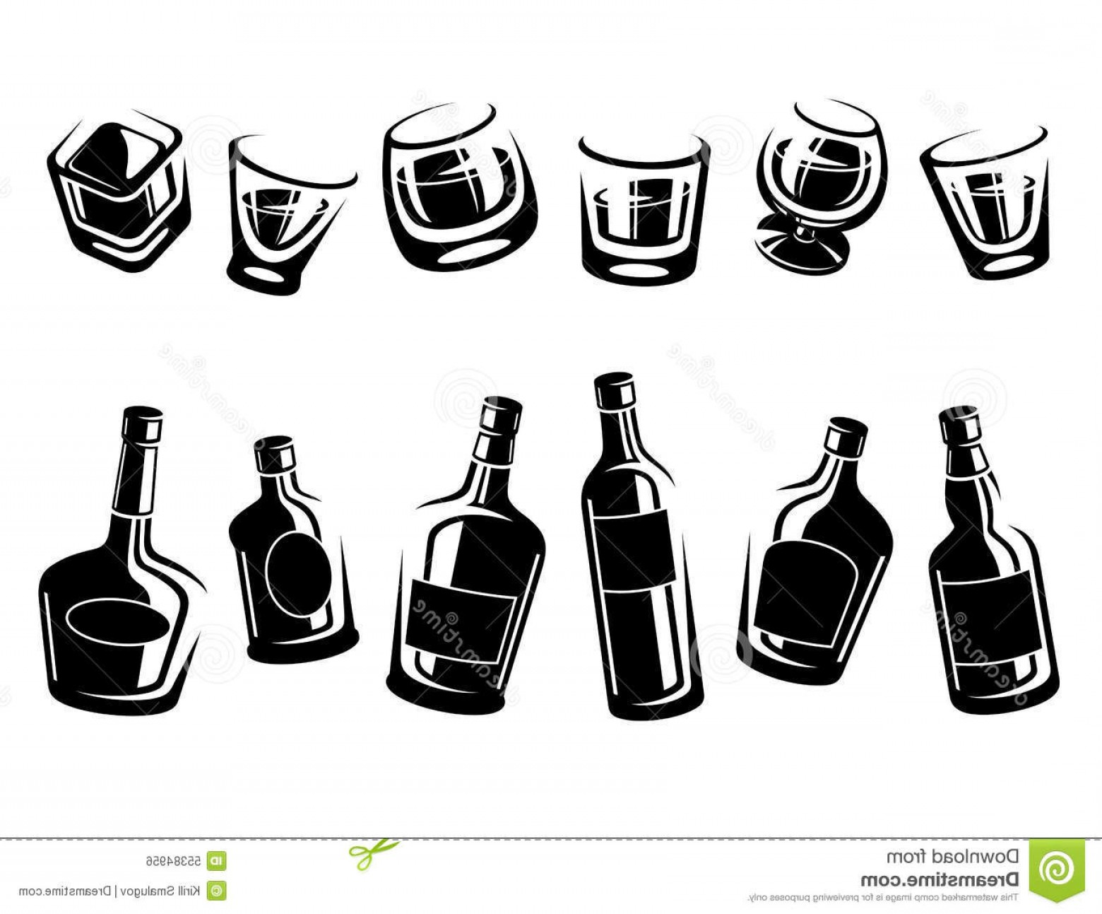 1560x1293 Stock Illustration Whiskey Bottle Glass Set Vector Illustration