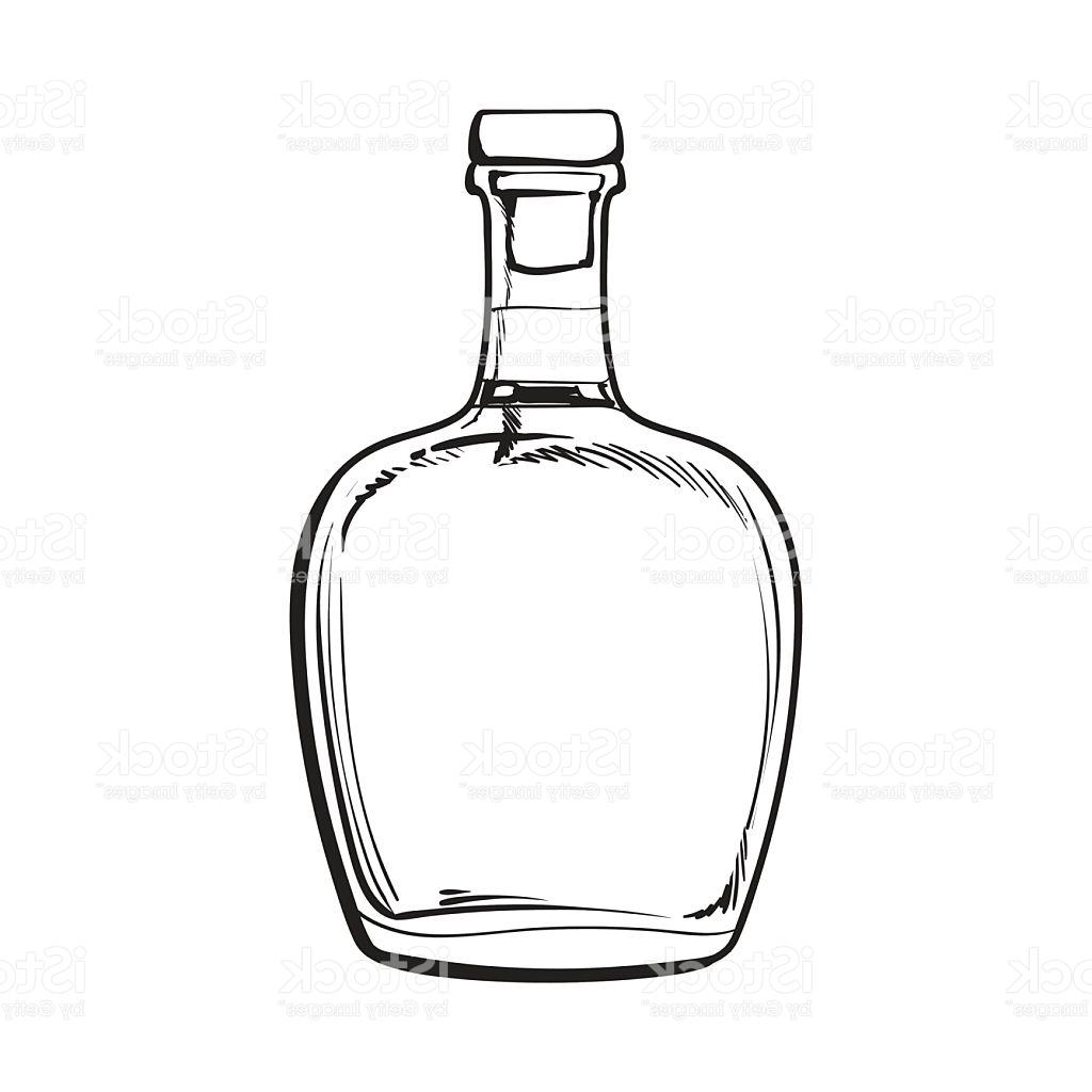 1024x1024 Unique Unopened Unlabeled Full Whiskey Bottle Vector Drawing