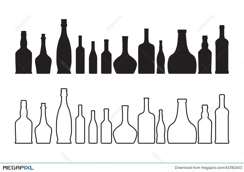 800x563 Vector Wine And Whiskey Bottle Illustration 43382403