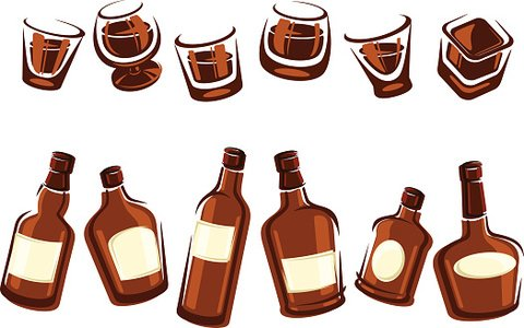 480x300 Whiskey Bottle And Glass Vector Premium Clipart