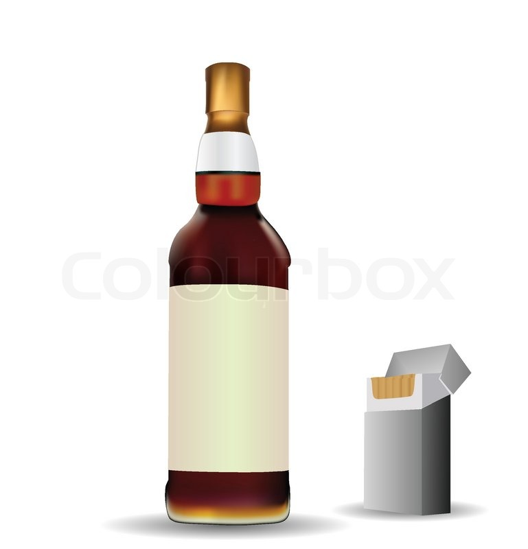 769x800 Whiskey Bottle And Pack Of Cigarettes Vector Stock Vector