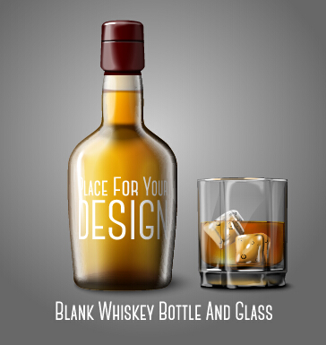 364x385 Blank Whiskey Bottle And Glass Vector Graphics Free Download