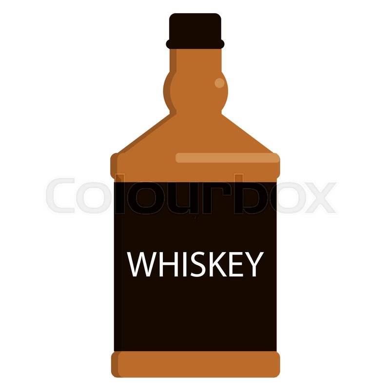 800x800 Whiskey Bottle Flat Icon, Vector Sign, Colorful Pictogram Isolated