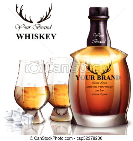444x470 Whiskey Realistic Bottle Vector. Product Packaging Brand Designs