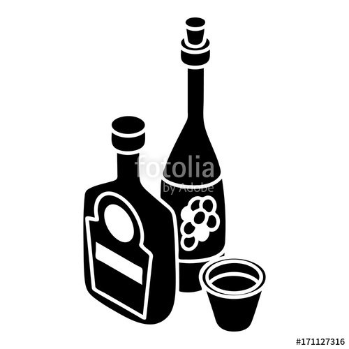 500x500 Wine, Whiskey Bottle Icon, Simple Style Stock Image And Royalty