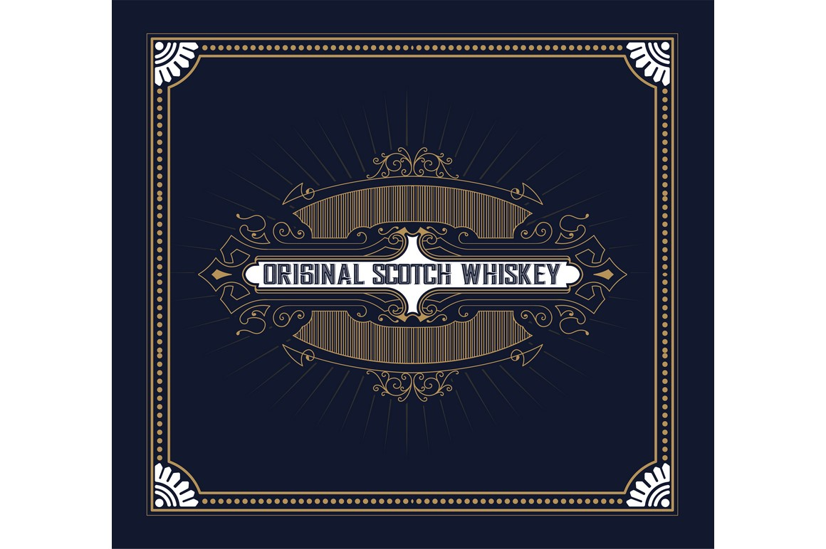 1160x772 Vintage Label Design For Whiskey And Wine Label, Restaurant Banner