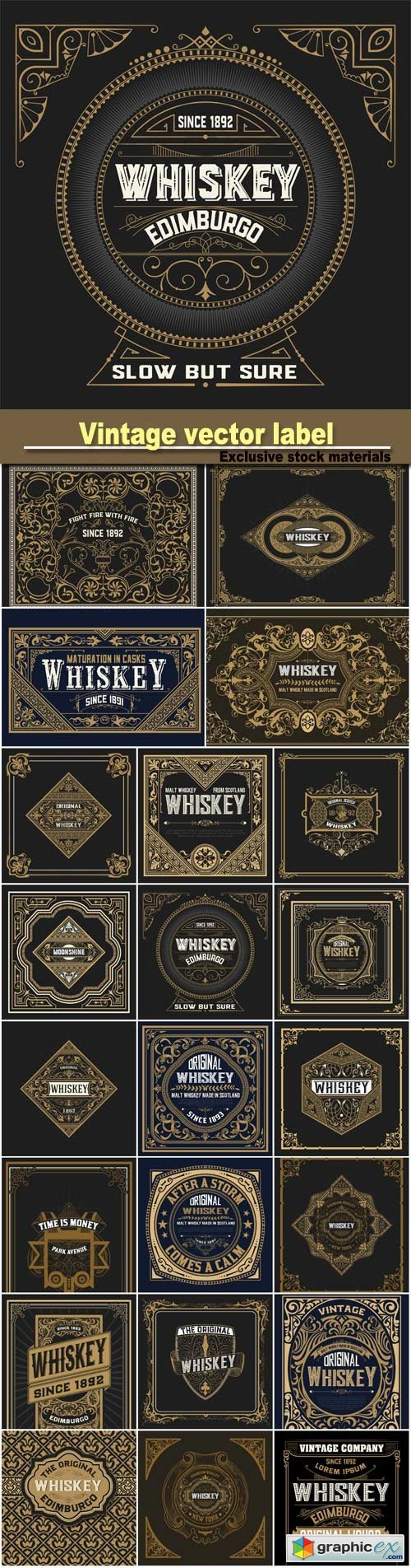 500x1904 Vintage Wedding Label, Retro Whiskey Label Vector Free Download