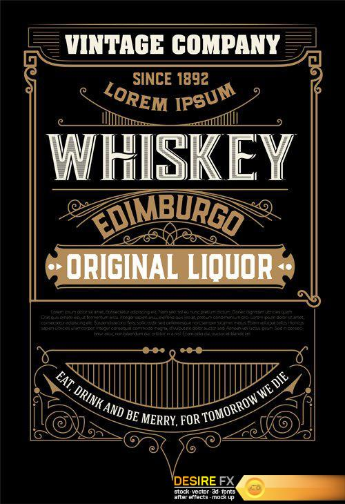 500x730 Desire Fx Vintage Wedding Label, Retro Whiskey Label Vector