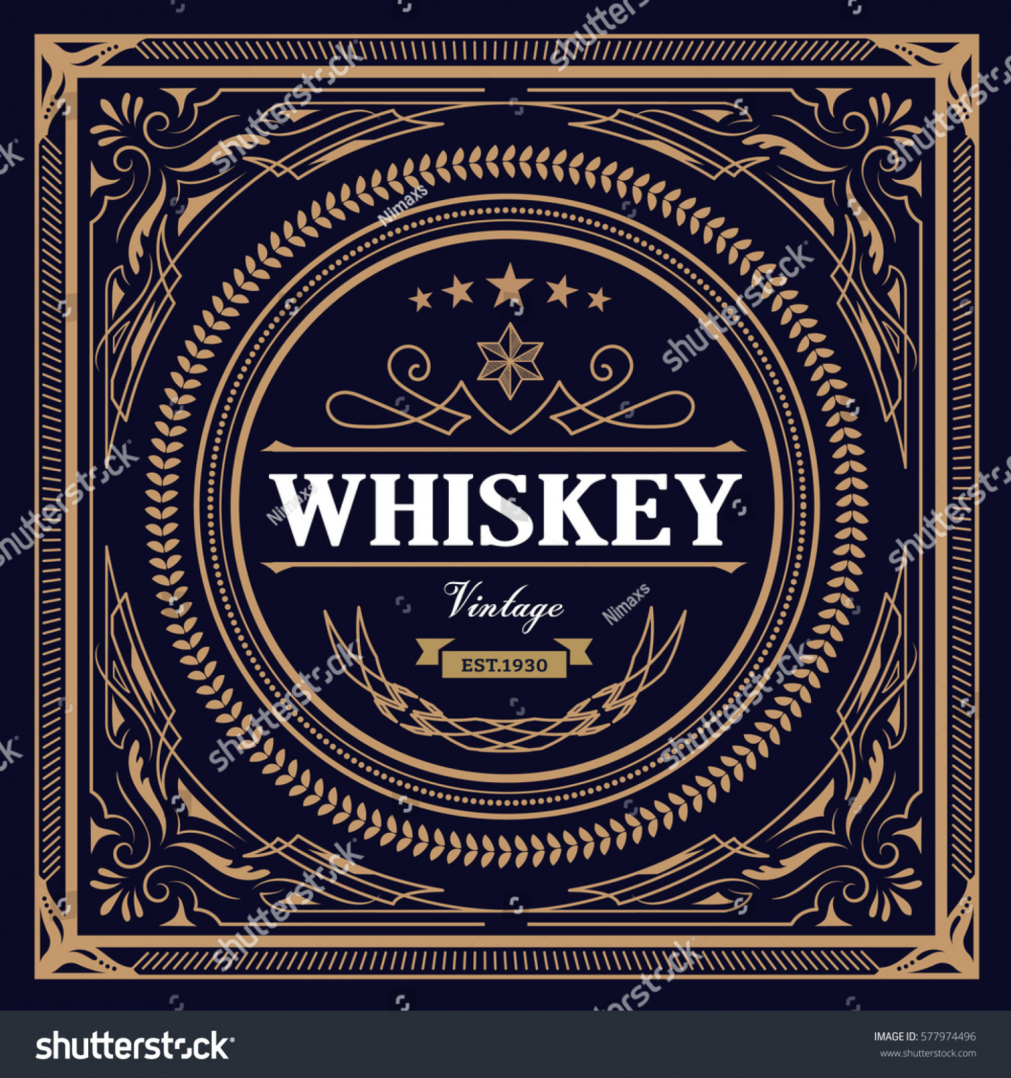 1455x1552 Get Whiskey Label Vintage Design Retro Vector Stock Vector Top