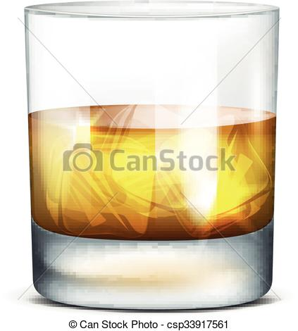 423x470 Glass Of Whiskey. Vector Illustration Of A Glass Of Whiskey On