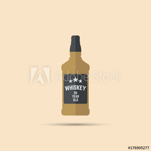 500x500 Square Brown Bottle Of Whiskey Vector Colored Flat Icon On Bright