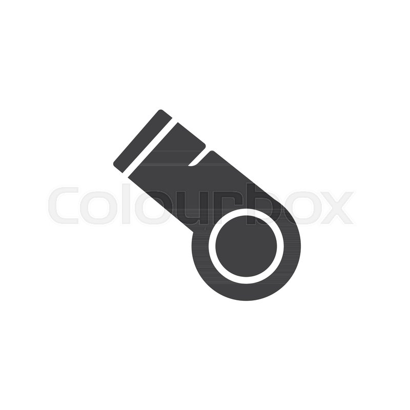 800x800 Police Whistle Vector Icon. Filled Flat Sign For Mobile Concept