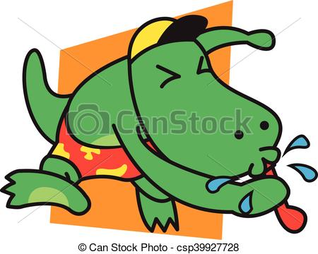 450x360 Dinosaur Blow The Whistle Vector Art.