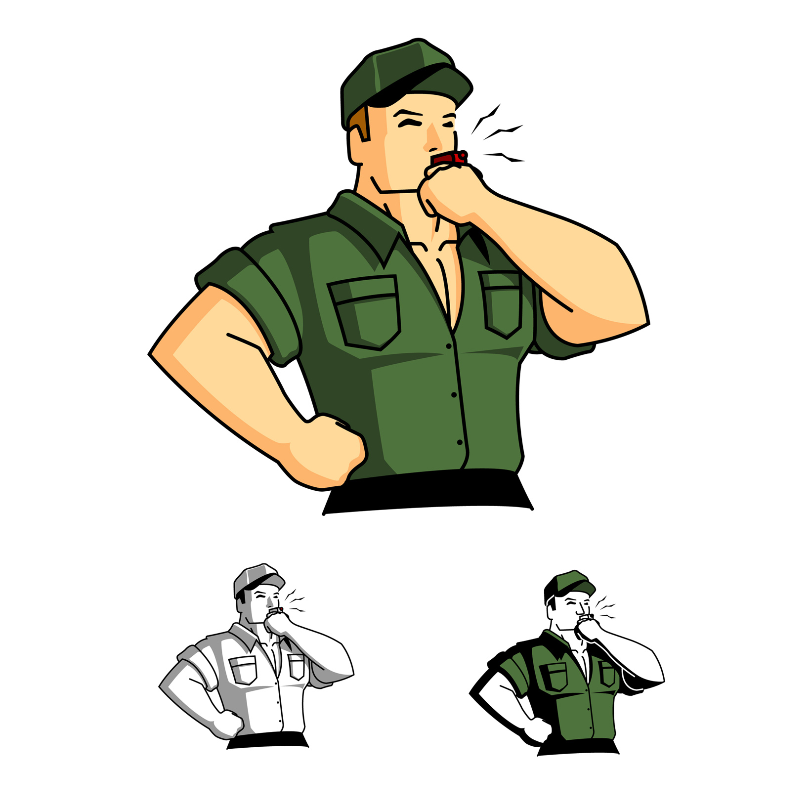 1641x1641 Drill Sergeant Blowing A Whistle Semi Retro Style Illustration