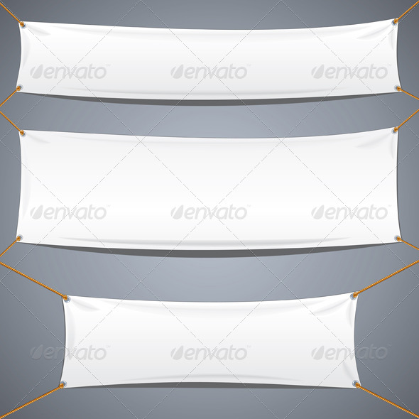 590x590 White Textile Banners. Vector Advertising Template By Pilart