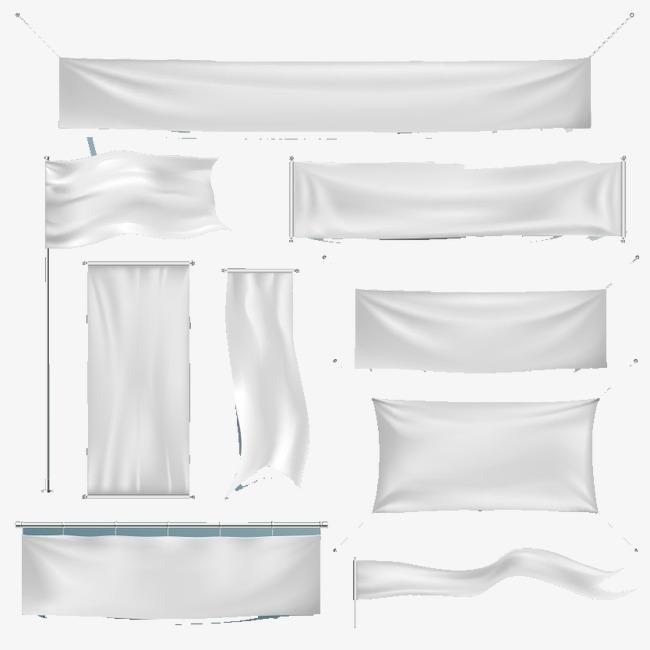650x650 9 Hanging White Silk Banner Vector Material, Flag Silk, Cloth