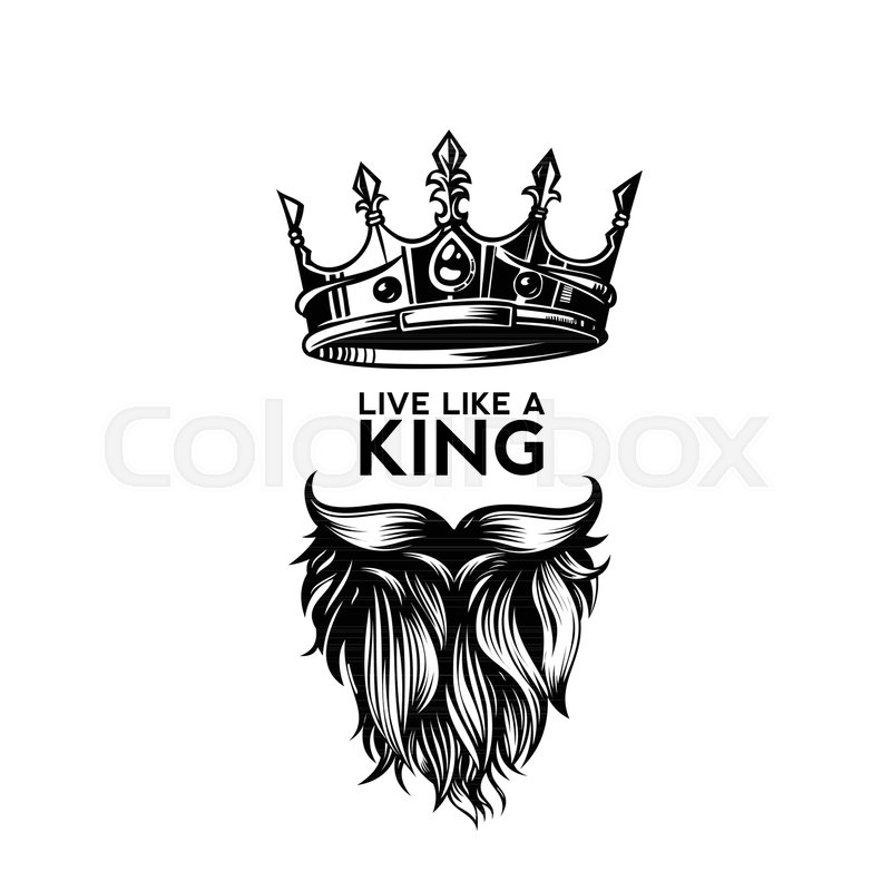 800x800 King Crown, Moustache And Beard On White Background Logo With