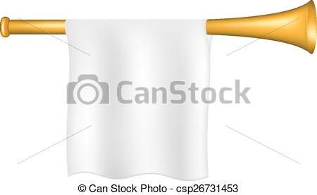 450x277 Trumpet With White Flag On White Background.