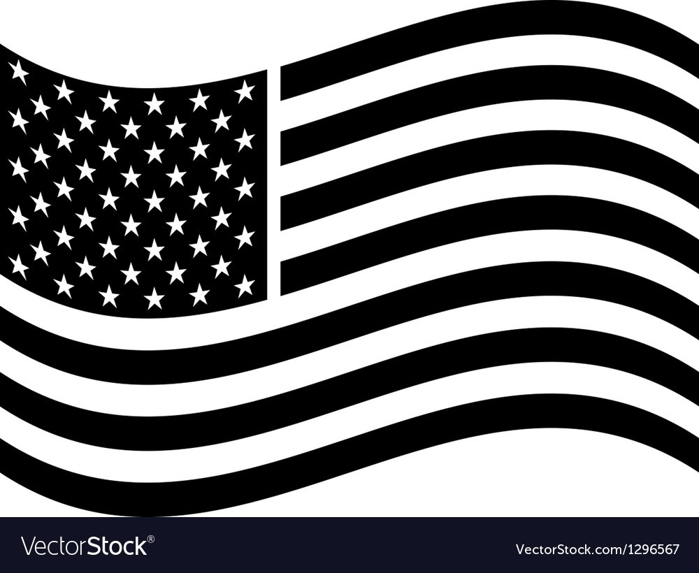 1000x820 Waving American Flag Vector 1296567 Black And White
