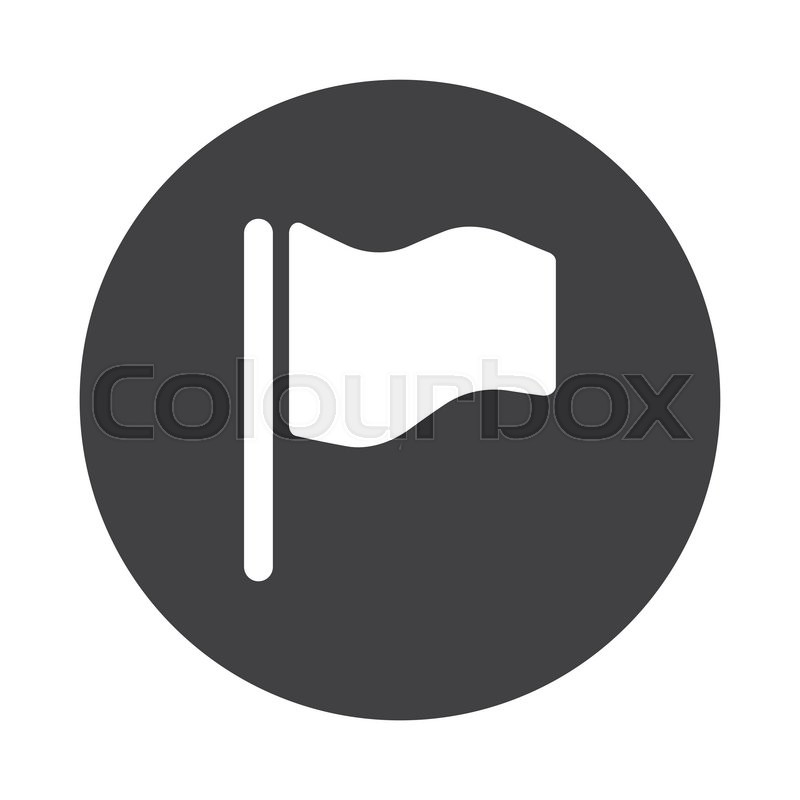 800x800 White Flag Icon On Black Button Isolated On White Stock Vector