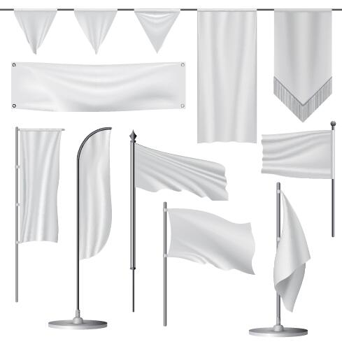 489x492 White Flag Design Vector Set 03