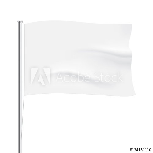 500x500 White Flag Template. Clean Horizontal Waving Flag, Isolated On