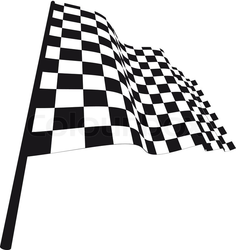 755x800 Black And White Checked Racing Flag Vector Illustration Stock