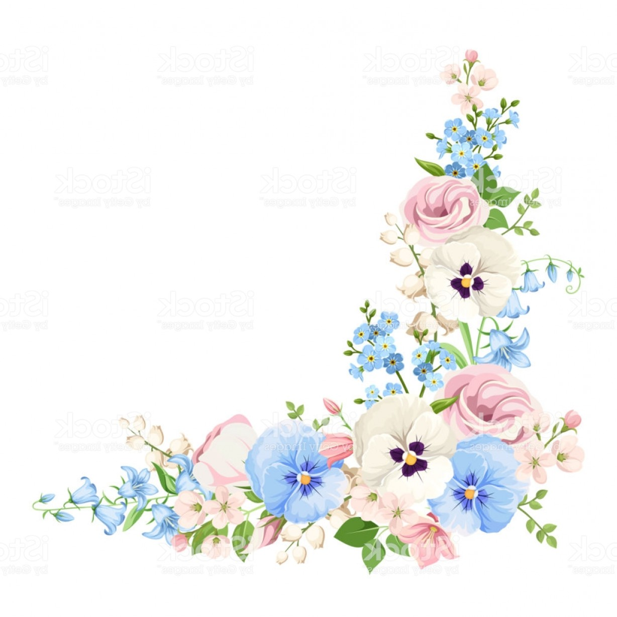 1228x1228 Pink Blue And White Flowers Vector Corner Background Gm Geekchicpro