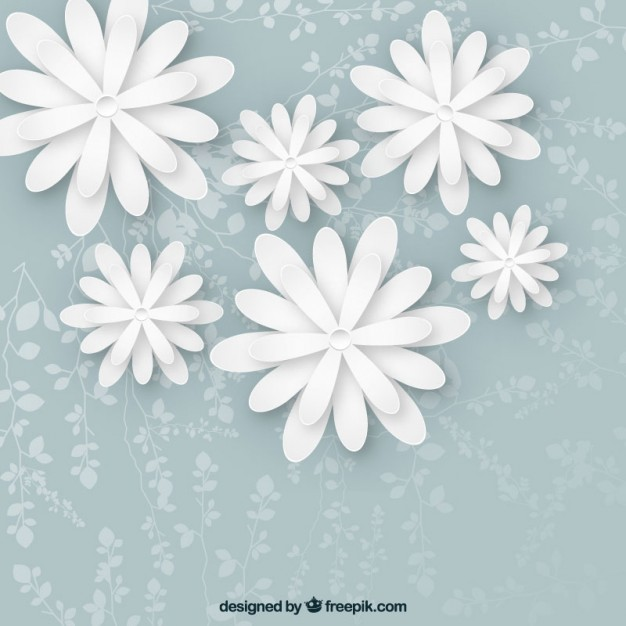 626x626 White Flowers Background Vector Free Download