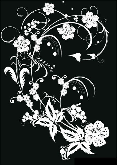 400x563 Black Amp White Flower Vector Art