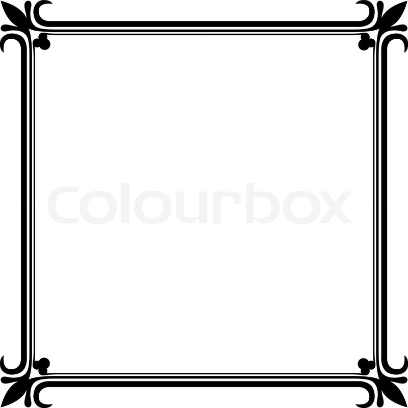 800x800 Black And White Vintage Frame Vector Template. Stock Vector