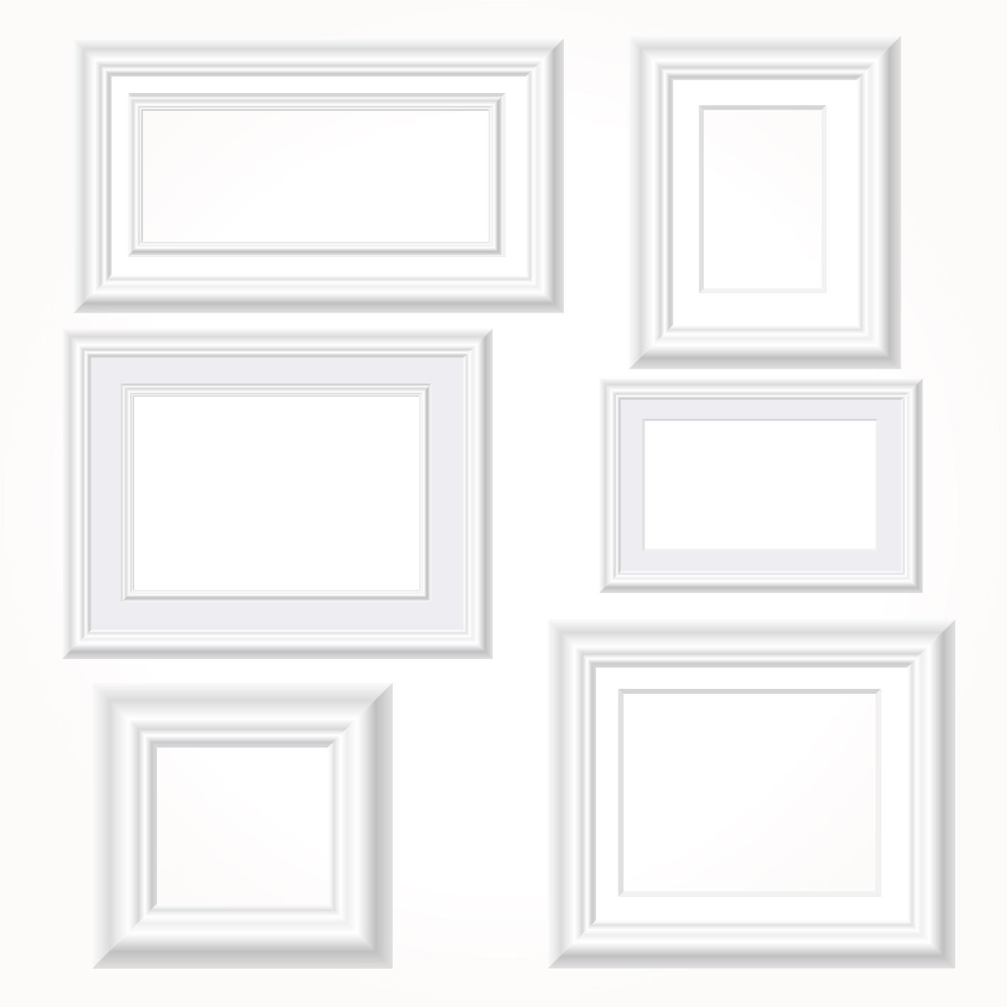 1418x1418 White Photo Frames Vector Set Free Download