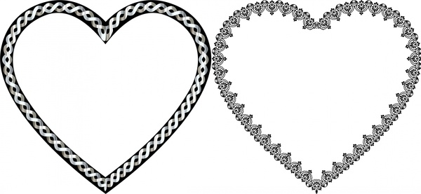 600x277 Hearts Vector Illustration With Classical Decorative Border Free