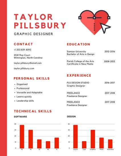 425x550 Red And White Heart Vector Infographic Resume