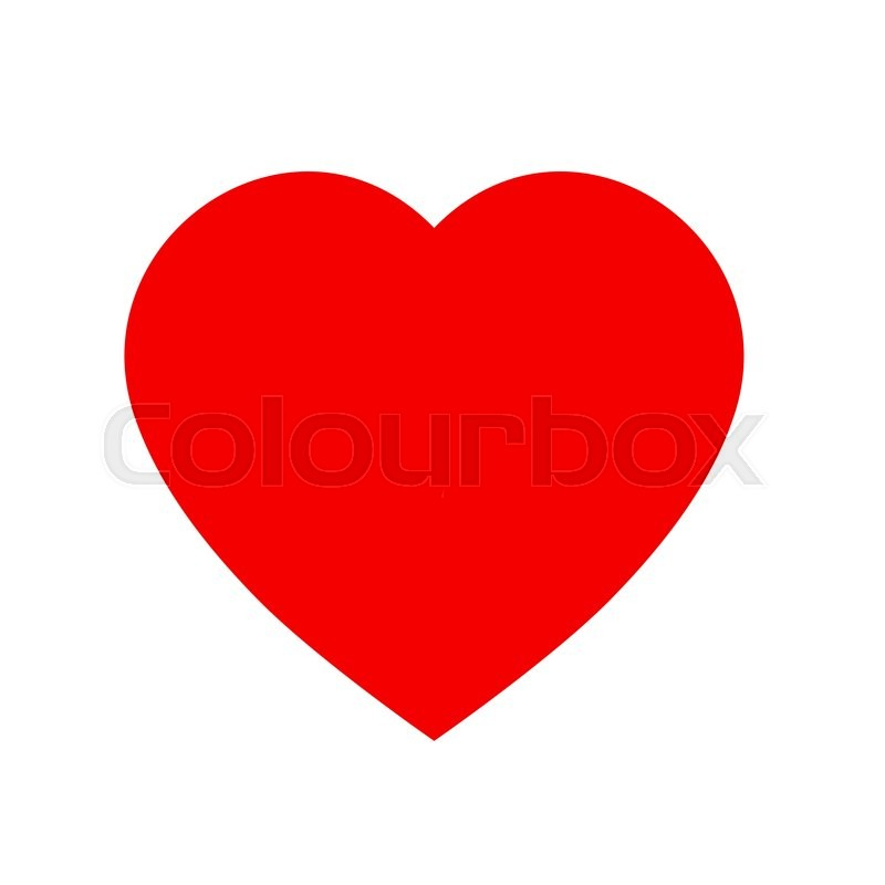 800x800 Simple Heart Icon. Red And White Heart Icon Shape Isolated On